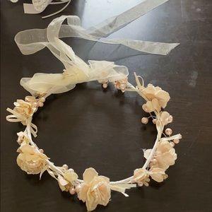 David's bridal Champagne pearl flower girl crown